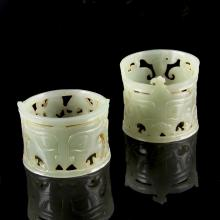 Two Chinese Jade Hair Tubes