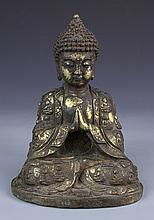 Chinese Partial Gilt Bronze Buddha