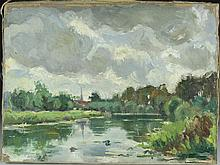 Oil on Canvas of River Landscape