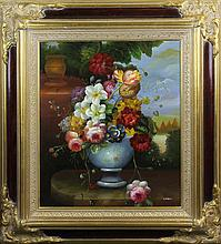 Framed Oil Painting of Flowers, Signed