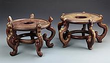 Chinese Pair Of Wood Stands
