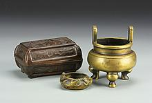 One Chinese Bronze Box and Two Brass Censers