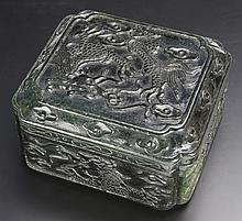 Chinese Carved Spinach Jade Ink Box