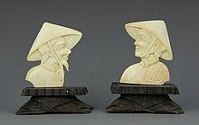 Two Chinese Ivory Fisherman on Stands