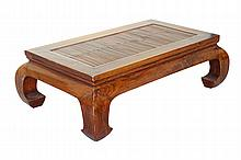 Chinese Elm Wood Table with Bamboo Top