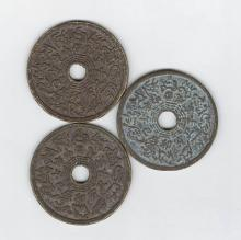 Three Chinese Bronze Fortune Telling Coins
