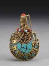 Chinese Tibetan Turquoise Snuff Bottle