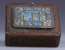 Chinese Zitan Box With Cloisonne Inlays