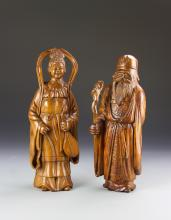 Two Chinese Wood Statues