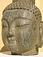 Masterpiece carved stone Buddha Head, Qing or earlier