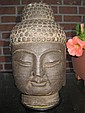 Chinese carved basalt stone Buddha head, 18 lb., 10 in.