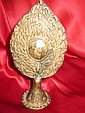 Newari altar bronze mirror,-right thought, Nepal