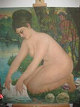 Russian Iwan Garikow 1968, Oil canvas: Nude on River