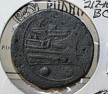 AE Bronze Roman coin sextans, Mercury, Galley 217-215BC