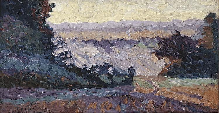 Emmanuel DE LA VILLÉON (1858-1944) Paysage Huile sur panneau signé en bas à gauche. Porte le numéro 317 au revers 22 x 40 cm 1 500/2 000