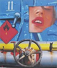 PETER KLASEN (né en 1935) Rêve - Container bleu - Inflammable rouge 4 by 3, 2010 Acrylique sur toile, signée, titrée, et datée au dos 65 x 54 cm