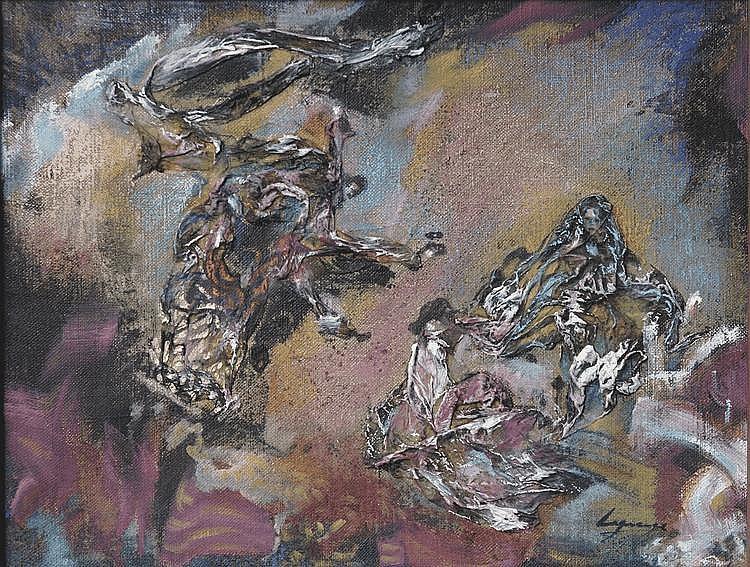 Maria Ester LAGRANGE (née en 1958) Le combat de la mer Série de la Divine Comédie, 1988-1995. Technique mixte sur toile signée en bas à droite 26 x 35 cm Un certificat d'authenticité de la main de l'artiste sera délivré à l'adjudicataire
