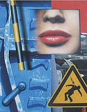 PETER KLASEN (né en 1935) Bouche de face - Container bleu - Haute tension, 2010 Acrylique sur toile signée, titrée et datée au dos 81 x 65 cm