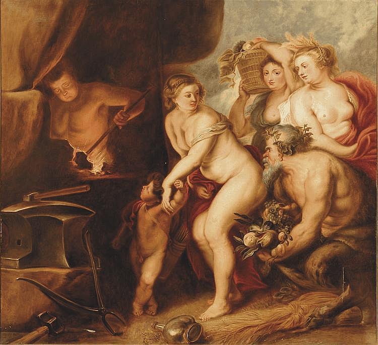 école FLAMANDE du XIX° siècle, dans le goût de Pierre-Paul RUBENS Vénus dans la forge de Vulcain Toile 153 x 159 cm (accidents)