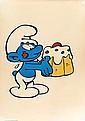 PEYO   Grand poster représentant le Schtroumpf gourmand vendu au début des années 60 à la boutique Dupuis  61 x 44 cm  Non numéroté, celui ci correspond au septième de la série (trous dans les angles)