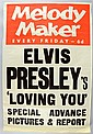 A Melody Maker music poster for Elvis Presley's 'Loving You' advertising poster,