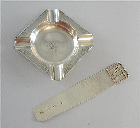 Silver advertising ashtray London 1937 and silver page marker or letter opener Birmingham 1997