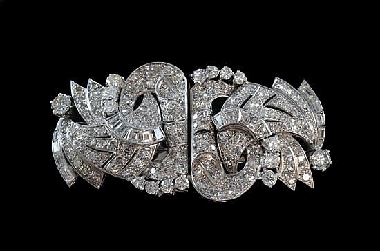 Art Deco diamond and platinum double clip brooch.