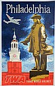 Travel Poster, Philadelphia TWA Trans World Airlines (1950's), artwork by Swanson,