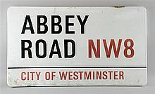 The Beatles Abbey Road, City Of Westminster, NW8 enamel road sign