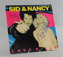 Sid & Nancy, Motion Picture Soundtrack LP cover signed by Gary Oldman (Sid) & Chloe Webb (Nancy) to front cover
