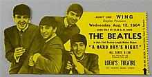 The Beatles A Hard Day's Night Ticket without Stub to the Dayton Premiere on Wednesday Aug 12 1964 at Loew's Theatre