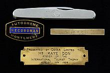 Kaye Don (1891-1981) World record breaking car & speedboat racer, personal items including a plaque presented by Dover Limited