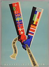 European Recovery Plan / Marshall Plan poster, by Erik Oelmebo (Swedish), c. 1950,