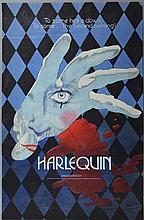 Harlequin (1980) Original prototype artwork for the mystery thriller starring Robert Powell & David Hemmings,