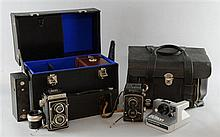 Cameras & accessories including an Agfa Silette Vario, Carl Zeiss Rolleiflex Compur, No2 Brownie x3,
