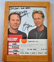 America, American Rock Band, a promotional photograph signed by Dewey Bunnell & Gerry Beckley along with a backstage pass