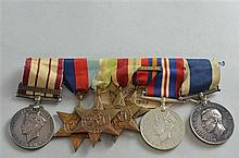 Royal Navy group of seven World War II medals, Royal Navy General Service Medal with clasp Palestine 1936-9, 1939-45 Star, Atlantic