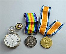 WWI medal group for Private A Brook, Royal Fusiliers, Great War medal and 1914 -1918 medal,