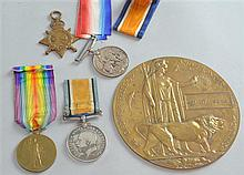 Four WW1 medals to WA and WH Harmer (probably brothers) and others and a brass Memorial plaque for Ernest Hughes