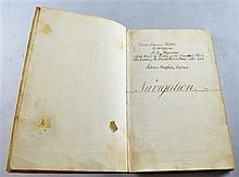 James Maurice Shipton, midshipman, handwritten navigation book aboard the ship, The Thunderer,