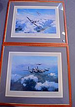 Pair of Robert Taylor signed prints of aircraft, signed by Douglas Bader and Johnny Johnson