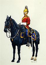 Douglas, English School, mid-20th century, 'Household Cavalry Horse Guard', bodycolour, signed
