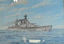 J Earl - watercolour of a battle ship, signed