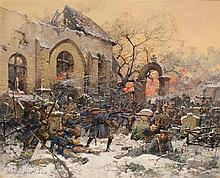 Eugène Galien-Laloue (1854-1941), World War I skirmish between German and French infantry in a churchyard, inscr. Mesnil-les-Hurlus
