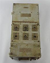 World War II electric switch fuse control box from a British Destroyer or Cruiser, complete with original fittings and paint,