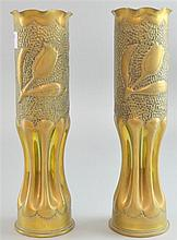Pair of WWI brass trench art vases decorated with tulips