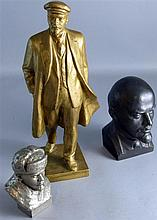 Plaster figure of Vladimir Ilyich Lenin and two similar busts