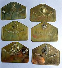 Six brass Regimental duty signs,