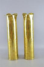 Pair of brass and engraved trench art vases with flared petal form rims