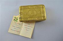 Christmas 1914 Queen Mary tin complete with contents, cigarettes, tobacco and card